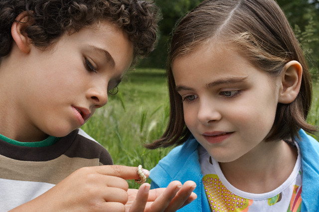 Boy and Girl Examining Caterpillar from tree