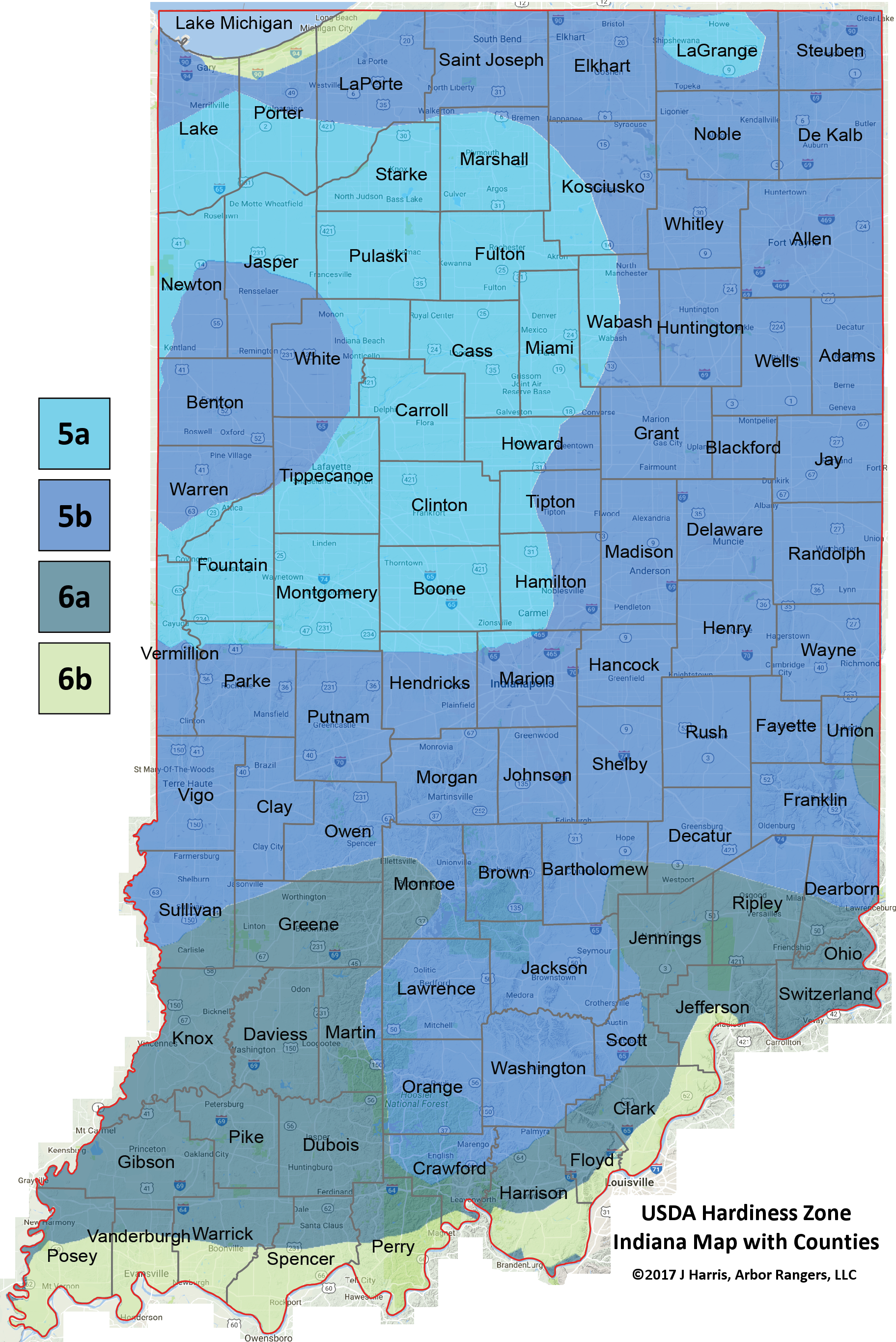 Usda Plant Hardiness Zone Map Indiana Arbor Rangers - Planting-zone-map-of-us
