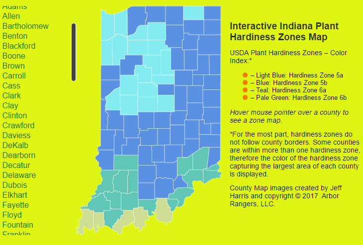 Usda Plant Hardiness Zone Map Indiana Arbor Rangers - Us-plant-hardiness-zone-map